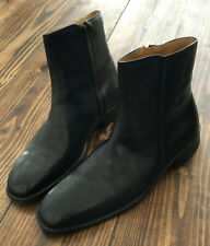 MENS WESTERN STYLE ANKLE BOOTS SZ 12 LEATHER ZIP UP BEATLE SANDRO MOSCOLONI