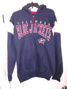 NHL Columbus Blue Jackets Hockey Team Logo Full Zip Hooded Sweatshirt Men's L