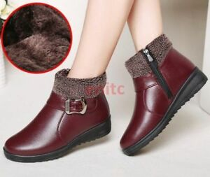 Winter Womens Ankle Snow Boots Buckle Zip Fleece Cotton Leather Shoes Anti-slip