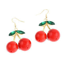 1 Pair Women Fashion Jewelry Cherry Drop Dangles Rhinestone Ear Studs Earrings