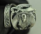 925 Sterling Silver Freemason Masonic Sword Shriner big Spoon Ring