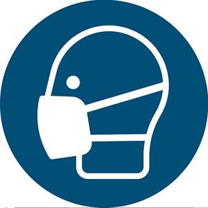 """Gebotszeichen Schild """"Maske benutzen"""" Kunststoffplatte nach ISO 7010 Ø20cm blau"""