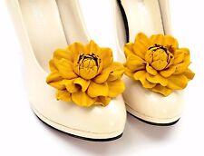 GENUINE LEATHER dark yellow flower shoe clips | Wedding bridal rose shoe clips