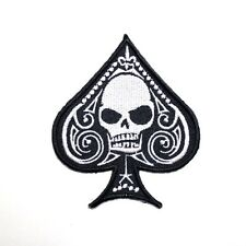 Blackjack Poker Card Skull Motorcycles Racing Team Clothing Applique Iron Patch