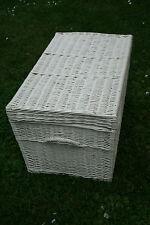 Weißer Weidenkorb 80cm, Korbweidenkoffer XL, Aufbewahrungskorb,Truhe Weiden-Korb