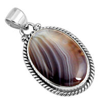925 Sterling Silver 18.15cts Natural Honey Botswana Agate Pendant Jewelry P90444