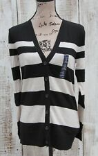 GAP Women NEW Sz Small Cardigan Sweater Black Beige-Gray Striped NEW