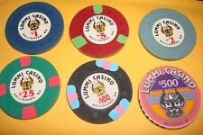 LUMMI  CASINO CHIPS  SET OF 6 CHIPS   BELLINGHAM  WASHINGTON