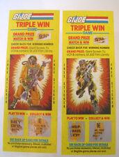 G.I. JOE (1985) TRIPLE WIN GAME~SCRATCH-OFF TICKETS (2) AIRTIGHT, DUSTY