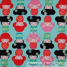 BonEful Fabric Cotton Quilt Aqua Pink Blue B&W Flower Girl Asian Chinese L SCRAP