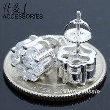 925 Sterling Silver Round 10Mm Lab Diamond Bling Screw Back Stud Earring*E45