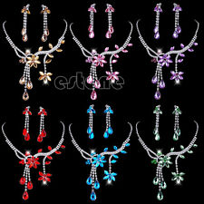Rhinestone Crystal Flower Leaf Waterdrop Pendant Necklace Earrings Jewelry Sets