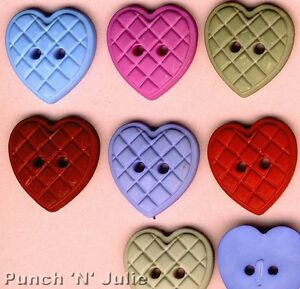 LARGE QUILTED HEARTS - Love Valentine's Day Wedding Novelty Craft Buttons