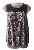 WOMENS NEXT CHIFFON JERSEY CONTRAST VEST TOP BLOUSE ANIMAL BLACK PRINT CLEARANCE