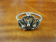 Silver 925 Ring Size 5 Crown with Twist Band Dainty Sterling