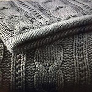 Pottery Barn Cozy Cable Knit Throw 50x60 Flagstone Gray #1929