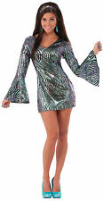 Womens Boogie Down Babe Disco Dress Costume 60's 70's Adult Size Standard