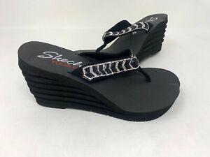 NEW! Skechers Women's Bohemian Arrow Crystal Wavy Wedge Sandals Blk #3869 83L tz