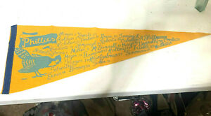 RARE PHILADELPHIA PHILLIES PENNANT 1940'S BLUEJAY LOGO PLAYER NAMES & NUMBERS
