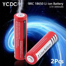 Rechargeable BRC 18650 Li-ion Battery 3.7V 3000mAh For Flashlight Headlamp x2