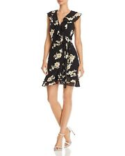 $230 Bardot Women'S Black Beige Floral-Print Ruffled Faux-Wrap Dress Size 10