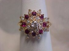 *ESTATE*NATURAL RED RUBY & DIAMOND FLORAL RING 14K YELLOW GOLD sz5 AMAZING PRICE