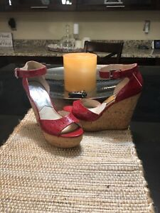 Michael Kors Red Leather Open Toe  Cork High Wedge Pump 9 1/2 9.5 Christmas