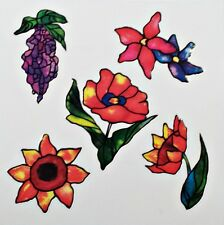 Red, Purple Lily Flower Rub On Permanent Transfer Decal Tile Glass Plastic DT26
