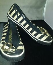 Rocketdog Women's Metallic Gold & Black Flats with Gold Buckle Size 6.5 EPOC