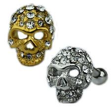 Totenkopf Glitzer Kristalle Gold Silber Stahl Ohr Helix Piercing Stecker Skull