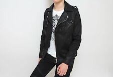 Rare & Great Balmain SS15 Black Waxed Denim Cotton Biker Jacket Made In Japan