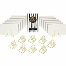 Wire Place Card Holder Stands with White Cards for Weddings Dinner Parties Gold