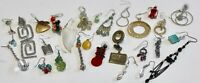Vintage Lot 27 Single Unique Dangling P. Earrings - MOP, Shell, Glass, Beads