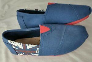 Toms Union Jack England British Flag Canvas Slip On Shoes Size Women's W9