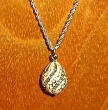 Russian FABERGE inspired WHITE Silver ENAMEL Swarovsky Crystal EGG pendant chain