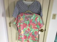 Woman's Talbots size large (lot of 2) short sleeve multicolored cotton tops