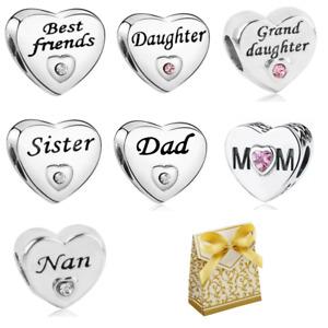 Silver Family Daughter Sister Mum Nan Love Heart Charm Bead for Moments Bracelet