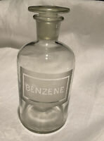 VINTAGE ORIGINAL APOTHECARY BOTTLE JAR BENZENE CHEMIST PHARMACY GROUND STOPPER