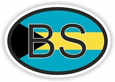 Bahamas BS COUNTRY CODE OVAL WITH  FLAG STICKER  bumper decal helmet