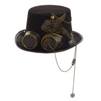 Gothic Skull Wing Glasses Top Hat Vintage Gear Party Steampunk Black Hat