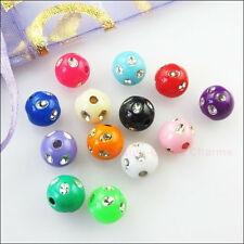 100Pc Mixed Acrylic Plastic Round Ball With Crystal Spacer Beads Charms DIY 6mm