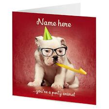Personnalisé FRENCH BULLDOG PUPPY Chien Nouveauté Fun Greetings Carte D'anniversaire
