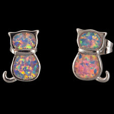 Kitten Cat Lavender Purple Fire Opal Inlay Silver Jewelry Stud Earrings