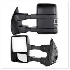 For 99-16 Ford F250 Super Duty Towing Manual Mirrors Set Black Side Smoke Lense