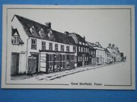 POSTCARD ESSEX GREAT BARDFIELD VIEW OF POST OFFICE PENCIL SKETCH