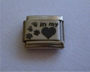 9mm Italian Charms L7 Cat Dog Death Pawprints in my heart Fits Classic Size