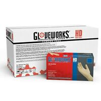 GLOVEWORKS Mechanic Powder Free Disposable Ivory Latex 8 Mil Gloves Non Vinyl