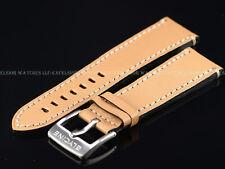 New Genuine OEM Glycine 24MM High Grade Beige Leather Strap W/ Signed SS Buckle