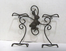 Easter Bunny Rabbit Wall Mount 4 Plate Holder Stand Chocolate Colored Metal