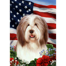 Bearded Collie Brown and White Patriotic Flag